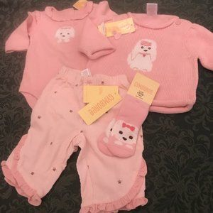 NWT gymboree dog outfit  puppy love 4pc set 0-3 M